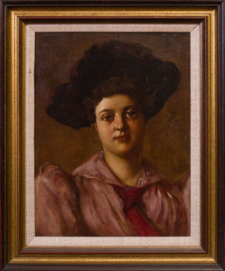 EDGAR JULIAN BISSELL (1856-?): WOMAN IN A BROWN HAT