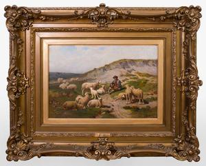 THEODORE JOURDAN (1833-1908): SHEPHERD SEATED WITH FLOCK