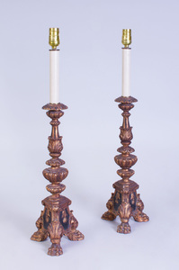 PAIR OF BAROQUE STYLE GILTWOOD CANDLESTICK LAMPS