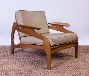 ADRIAN PEARSALL CANED, WALNUT AND VINYL ARMCHAIR FOR CRAFT ASSOCIATES