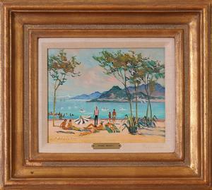 PIERRE BOUDET (1915/25-2010): CANNES, PLAGE HOTEL MEDITERRANEAN