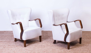 PAIR OF ART DECO STYLE UPHOLSTERED BEECH ARMCHAIRS