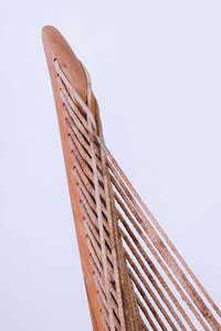 JØRGEN HØVELSKOV LAMINATED STAINED OAK AND FLAGLINE 'HARP' CHAIR
