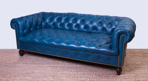 TEAL LEATHER-UPHOLSTERED CHESTERFIELD SOFA