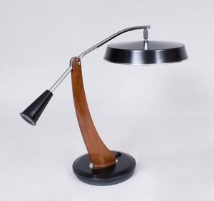 CHROME AND TEAK DESK LAMP