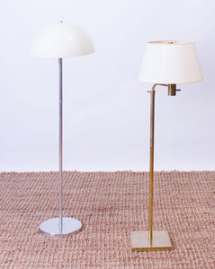 NESSON CHROME FLOOR LAMP WITH PLASTIC SHADE, AND A BRASS FLOOR LAMP