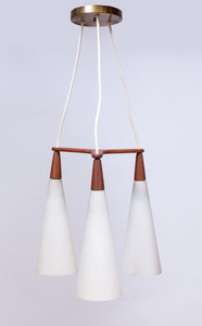 DANISH TEAK AND GLASS THREE-LIGHT CHANDELIER