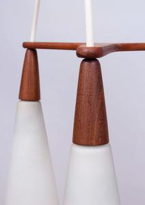 DANISH TEAK AND GLASS THREE-LIGHT CHANDELIER