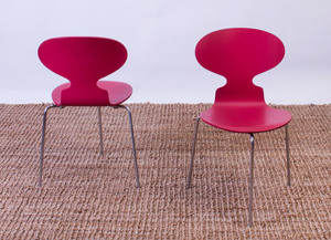 SET OF SIX ARNE JACOBSEN STAINED WOOD AND CHROME 'ANT' CHAIRS FOR FRITZ HANSEN
