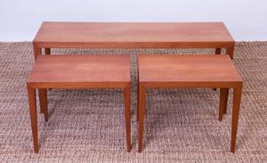 SET OF THREE SEVERIN HANSEN FOR HASLEV TEAK TABLES