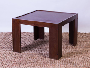 AFRA & TOBIA SCARPA MAHOGANY AND LEATHER LOW TABLE FOR CASSINA