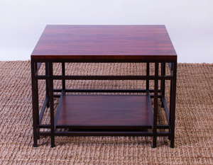 BAKER ROSEWOOD AND EBONIZED END TABLE