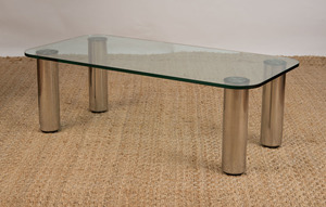 MARCO ZANUSO STAINLESS STEEL AND GLASS 'MARCUSO' COFFEE TABLE