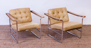 PAIR OF HANS EICHENBERGER CHROME AND LEATHER ARMCHAIRS, RETAILED BY STENDIG