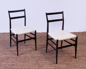 SET OF SIX GIO PONTI 'SUPERLEGGERA' EBONIZED SIDE CHAIRS