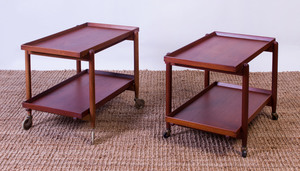 TWO POUL HUNDEVAD TEAK TWO-TIERED END TABLES