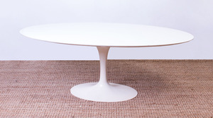 EERO SAARINEN ELLIPTICAL LAMINATE AND METAL 'TULIP' DINING TABLE