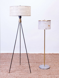 TWO MCM METAL AND BRASS FLOOR LAMPS