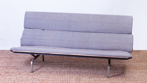 CHARLES EAMES CHROME AND WOOL-UPHOLSTERED COMPACT SOFA
