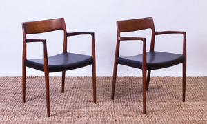 PAIR OF J.L. MOELLER TEAK ARMCHAIRS