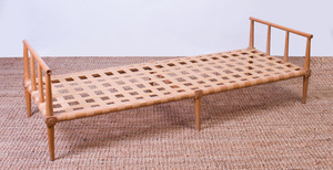 BEECH AND NYLON TAPE DAYBED, IN THE STYLE OF T.H. ROBSJOHN-GIBBINGS