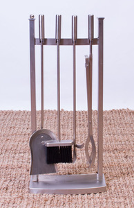 BRUSHED-STEEL FIREPLACE TOOLS