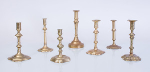 SEVEN VARIOUS BRASS CANDLESTICKS
