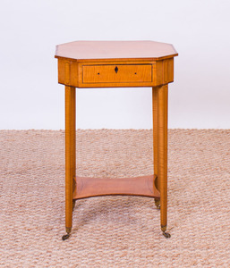 GEORGE III INLAID SATINWOOD SEWING TABLE