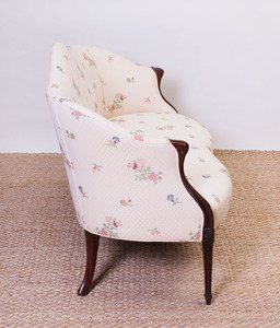GEORGE III STYLE MAHOGANY SETTEE, IN THE FRENCH TASTE