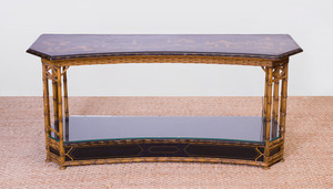REGENCY STYLE JAPANNED, PARCEL-GILT AND PAINTED TWO-TIER CONSOLE TABLE