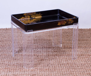JAPANESE BLACK LACQUER TRAY ON LATER LUCITE STAND