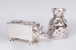 MEXICAN SILVER-PLATED BAG-FORM VASE AND A SILVER-PLATED RHINOCEROS-FORM WINE COOLER