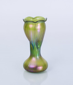 IRIDESCENT FLUTED GLASS VASE, POSSIBLY LOETZ