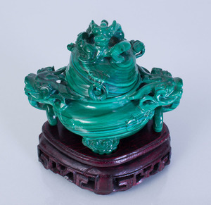 CHINESE MALACHITE CENSER AND COVER
