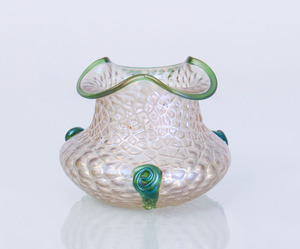 IRIDESCENT GLASS VASE WITH APPLIED DECORATION, POSSIBLY LOETZ