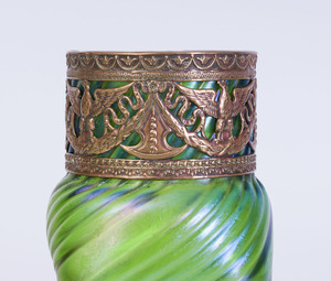 GILT-METAL-MOUNTED IRIDESCENT GLASS VASE, POSSIBLY LOETZ