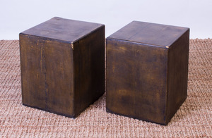 PAIR OF BLACK SHAGREEN-COVERED SIDE TABLES