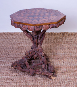 RUSTIC BURL AND ROOT MARQUETRY GAMES TABLE