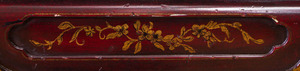 PAIR OF CHINESE EXPORT STYLE MAROON PAINTED AND PARCEL-GILT CONSOLE TABLES