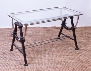 IRON AND CHROME GLASS-TOP ARCHITECT TABLE