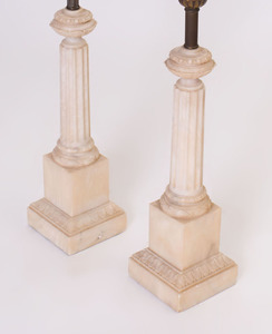 PAIR OF NEOCLASSICAL STYLE ALABASTER COLUMNAR LAMPS