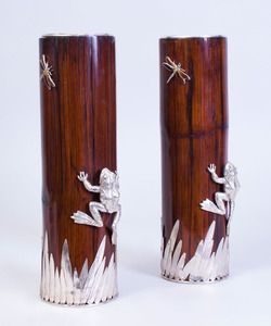 PAIR OF SILVER PLATE-MOUNTED BAMBOO VASES