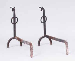 FRENCH WROUGHT-IRON BULL-FORM ANDIRONS