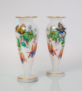PAIR OF FRENCH PAINTED OPALINE GLASS VASES