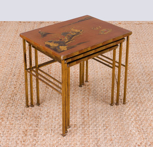 SET OF THREE GILT-BRONZE AND LACQUERED NESTING TABLES, POSSIBLY MAISON JANSEN