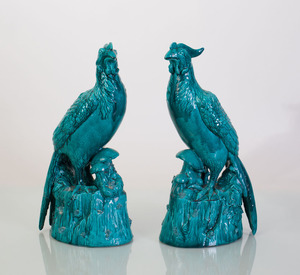 PAIR OF CHINESE EXPORT STYLE TURQUOISE GLAZED POTTERY BIRDS