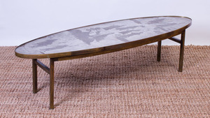 PHILIP AND KELVIN LAVERNE PATINATED BRONZE OVAL COFFEE TABLE