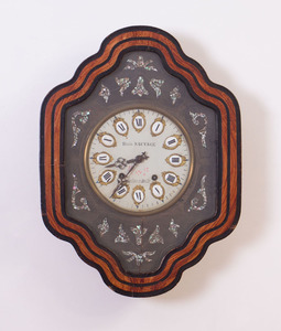 FRENCH GILT-METAL-MOUNTED ENAMEL, PAINTED AND INLAID MOTHER-OF-PEARL WALL CLOCK