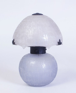 DAUM ACID ETCHED GLASS LAMP WITH WROUGHT-IRON SUPPORT