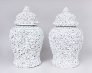 PAIR OF GERMAN WHITE FLOWER-ENCRUSTED LARGE JARS AND COVERS